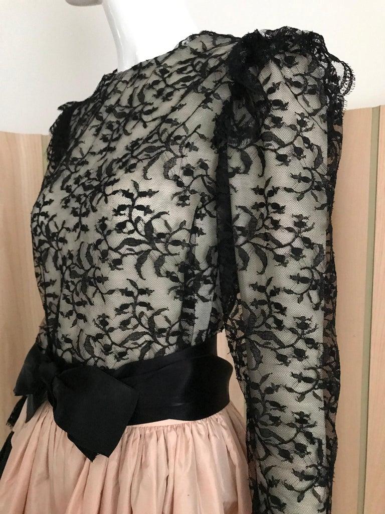 1960s Bill Blass Black Lace Silk Blouse with Silk Taffeta Circle Skirt For Sale 2