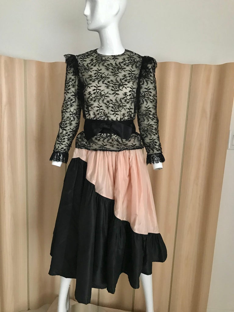 1960s Bill Blass Black Lace Silk Blouse with Silk Taffeta Circle Skirt For Sale 3