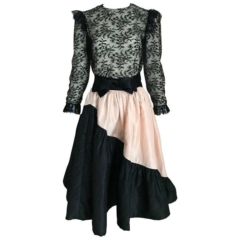 1960s Bill Blass Black Lace Silk Blouse with Silk Taffeta Circle Skirt For Sale