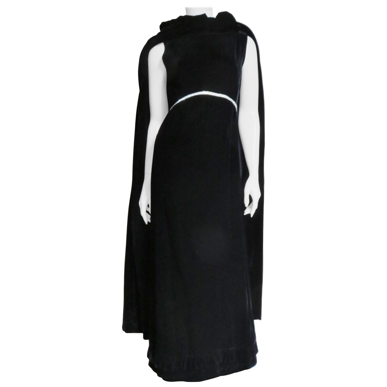 1960s Bill Blass for Maurice Rentner Black Silk Velvet Gown and Cape