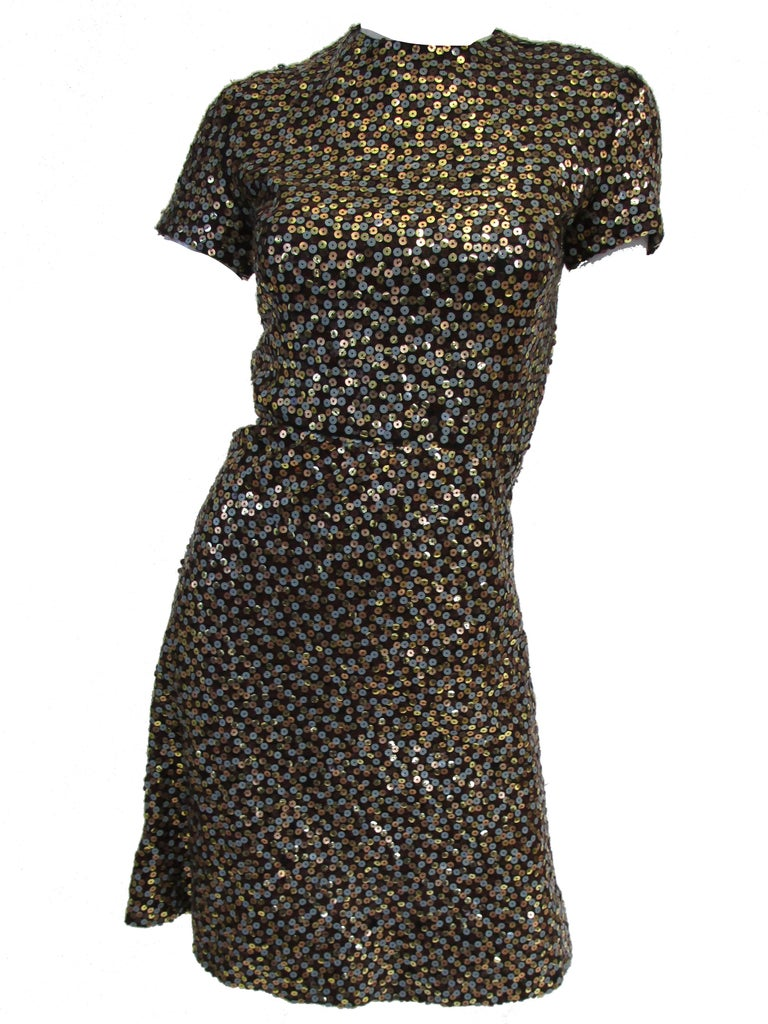 Black 1960s Bill Blass Grey and Gold Sequin Dress with Sequin Lined Jacket xxs For Sale