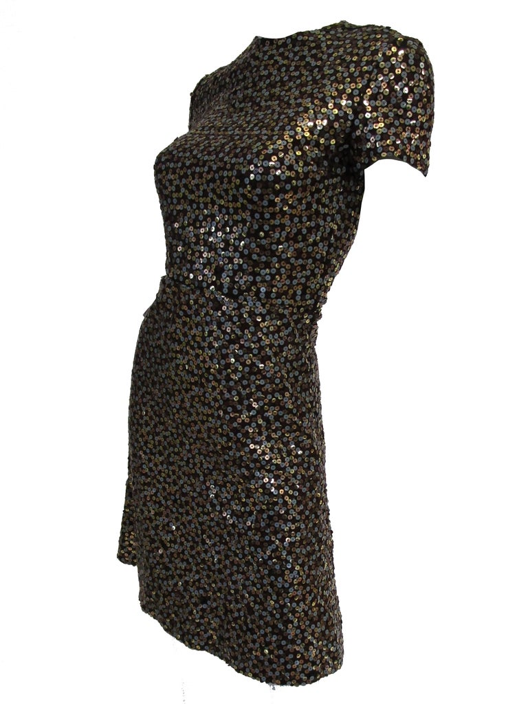 1960s Bill Blass Grey and Gold Sequin Dress with Sequin Lined Jacket xxs In Good Condition For Sale In Houston, TX