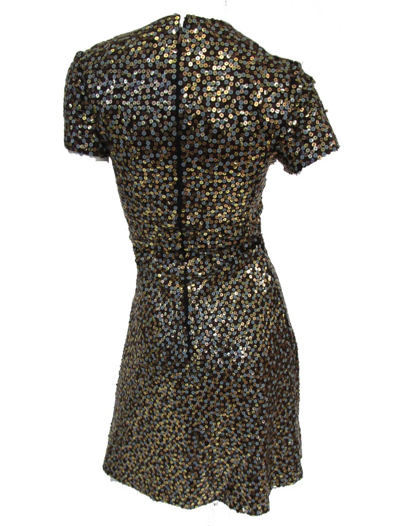 Women's 1960s Bill Blass Grey and Gold Sequin Dress with Sequin Lined Jacket xxs For Sale