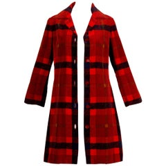 1960s Bill Blass Vintage Plaid Print Velvet Coat with Red Lucite Cube Buttons