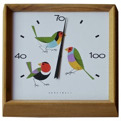 1960s Birds Enamel Thermometer Walnut Wall Temperature Charlie Harper Attributed