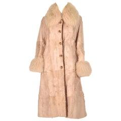 1960s Bisque Calf and Angora Rabbit Fur Coat