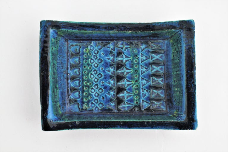 1960s Bitossi Aldo Londi Rimini Blue Glazed Ceramic Rectangular Bowl  For Sale 4