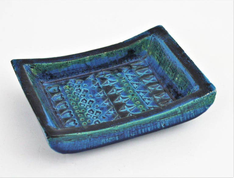 1960s Bitossi Aldo Londi Rimini Blue Glazed Ceramic Rectangular Bowl  For Sale 5