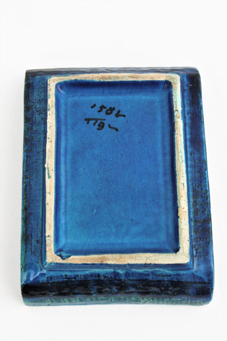 1960s Bitossi Aldo Londi Rimini Blue Glazed Ceramic Rectangular Bowl  For Sale 6