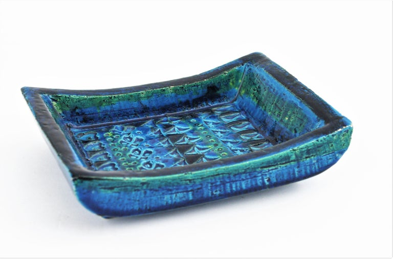 Mid-Century Modern 1960s Bitossi Aldo Londi Rimini Blue Glazed Ceramic Rectangular Bowl  For Sale