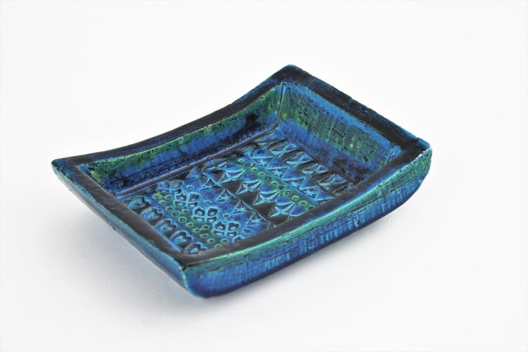 20th Century 1960s Bitossi Aldo Londi Rimini Blue Glazed Ceramic Rectangular Bowl  For Sale