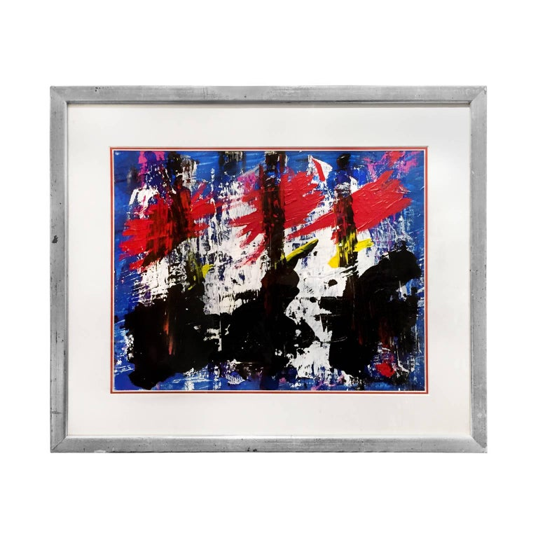 1960s Black, White, Red, Yellow and Blue Abstract For Sale