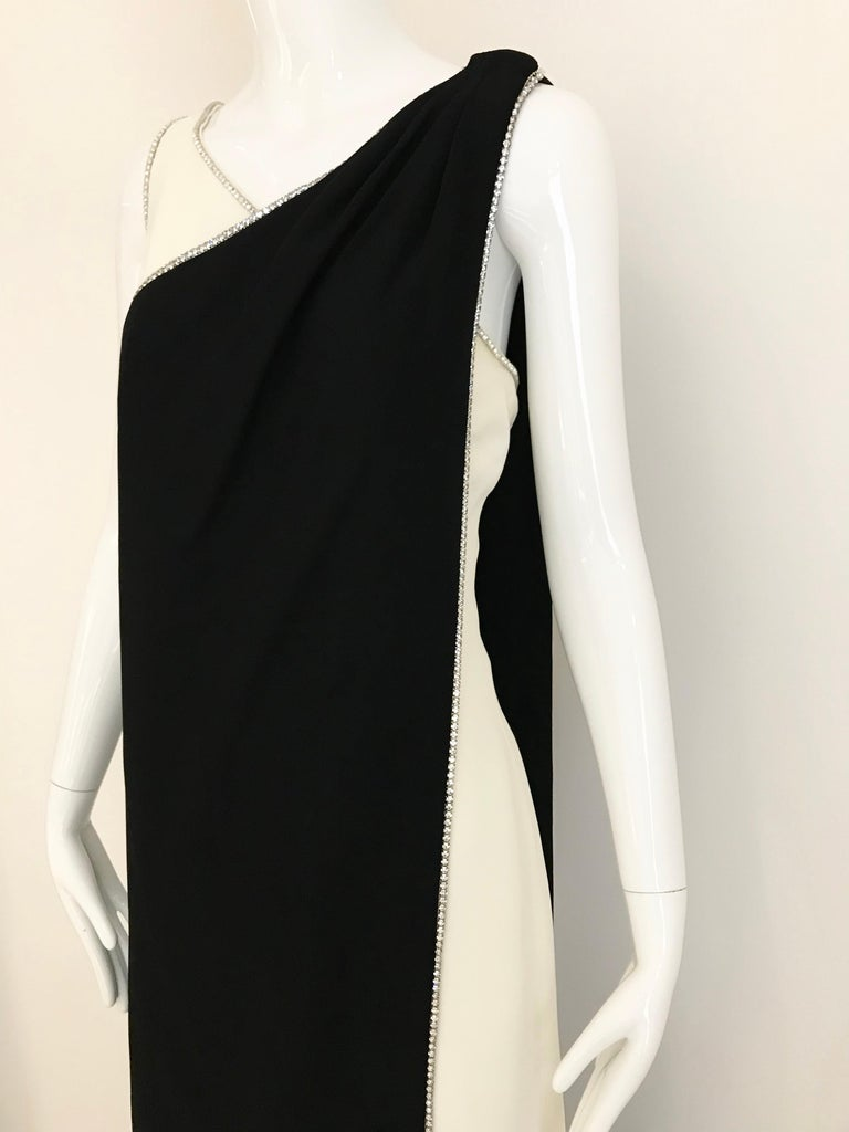 Women's 1960s Black and Cream Crepe Gown  For Sale
