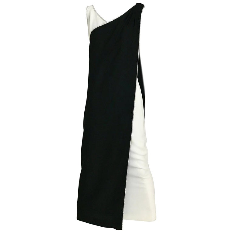 1960s Black and Cream Crepe Gown  For Sale