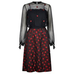 1960s Black and Red Polka Dot Demi Couture Dress and Jacket With Chiffon Bodice