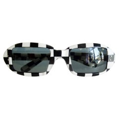 1960s Black and White Check Mod Sunglasses