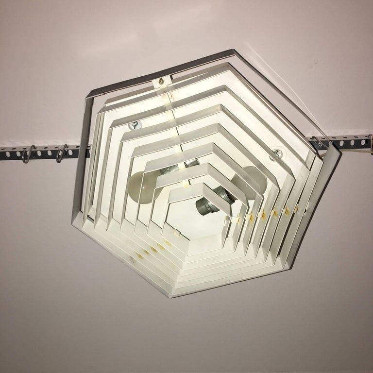 1960s Black and White Hexagon Flush Mount by Doria, Germany In Good Condition For Sale In Frisco, TX
