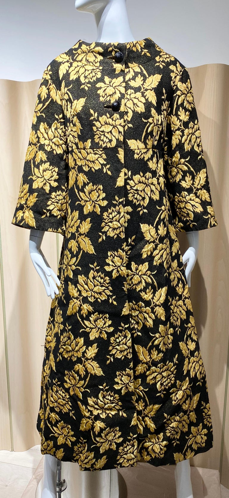 1960s Cocktail Coat in Yellow gold flower print in black brocade.  Size: Large