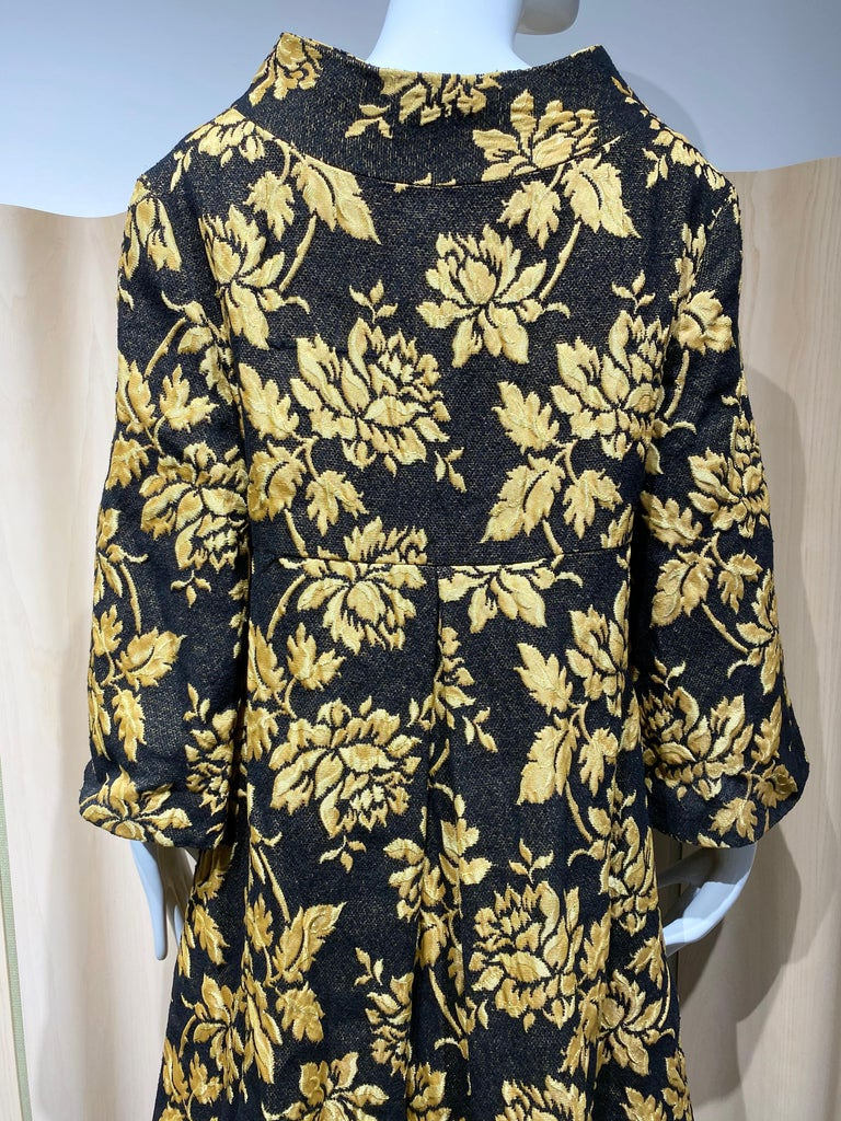 Women's 1960s Black and Yellow Flower Print Brocade Coat For Sale