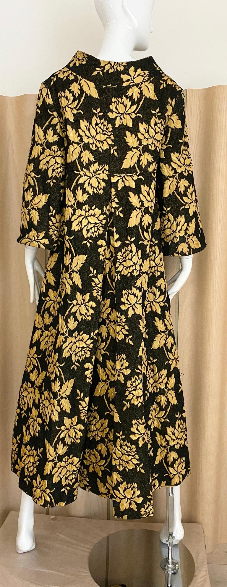 1960s Black and Yellow Flower Print Brocade Coat For Sale 1