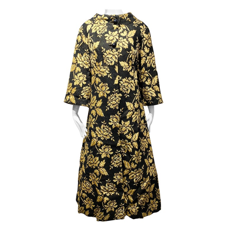 1960s Black and Yellow Flower Print Brocade Coat For Sale