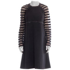 1960S JACQUELINE VANOYE Black Polyester Knit MOD Cocktail Dress With Mesh Lurex