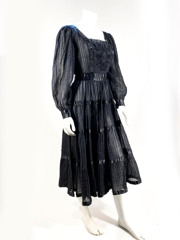 Women's 1960s Black Cotton Peasant/Bohemian Dress For Sale