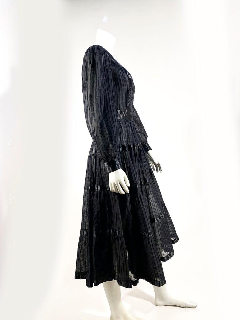 1960s Black Cotton Peasant/Bohemian Dress For Sale 1
