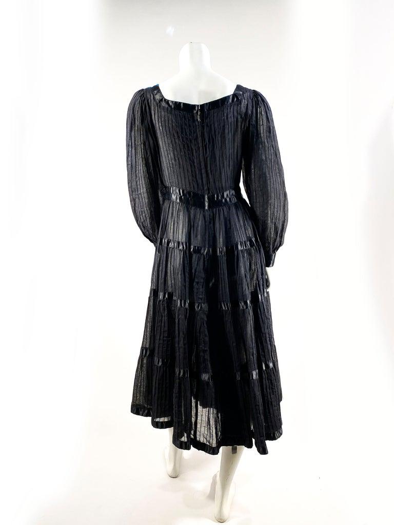 1960s Black Cotton Peasant/Bohemian Dress For Sale 2