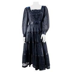 1960s Black Cotton Peasant/Bohemian Dress