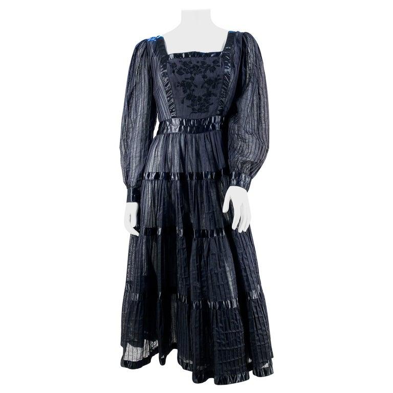 1960s Black Cotton Peasant/Bohemian Dress For Sale