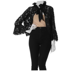1960S Black Embroidered Silk & Cotton Lace Bow Neck Bell Sleeve Jacket