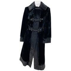 1960s Black Faux Fur/Plush Velvet Mod Coat