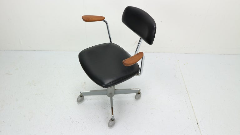 Admirable 1960S Black Faux Leather Office Chair By Hag Norway At 1Stdibs Machost Co Dining Chair Design Ideas Machostcouk