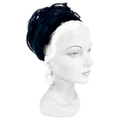 1960s Black Feathered Pillbox Hat