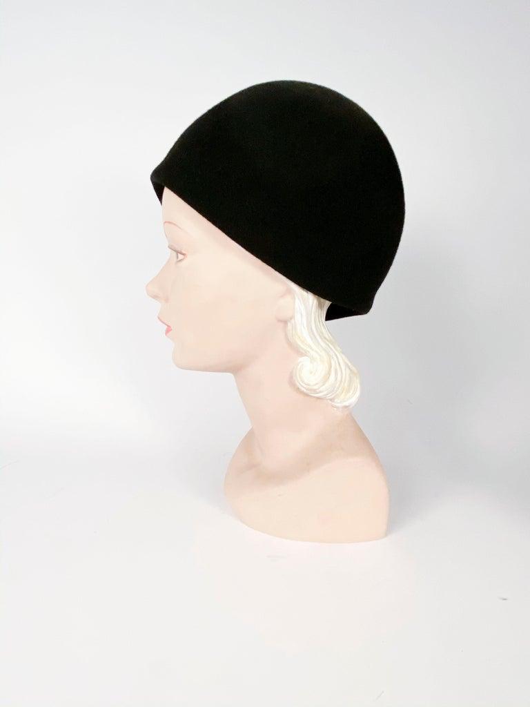 1960s Black Fur Felt Bucket Hat with Diamond Applique For Sale 1