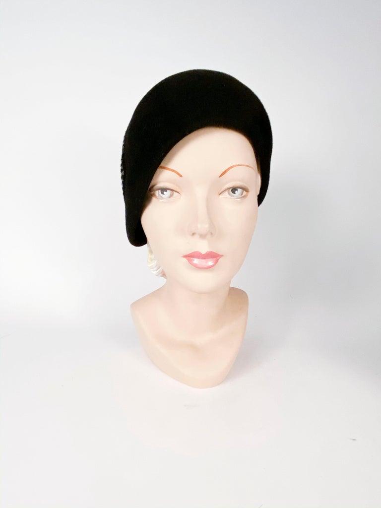 1960s Black Fur Felt Bucket Hat with Diamond Applique For Sale 2