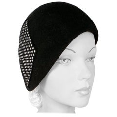 1960s Black Fur Felt Bucket Hat with Diamond Applique