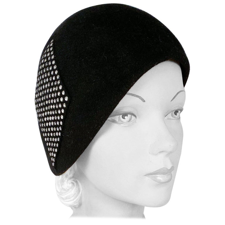 1960s Black Fur Felt Bucket Hat with Diamond Applique For Sale