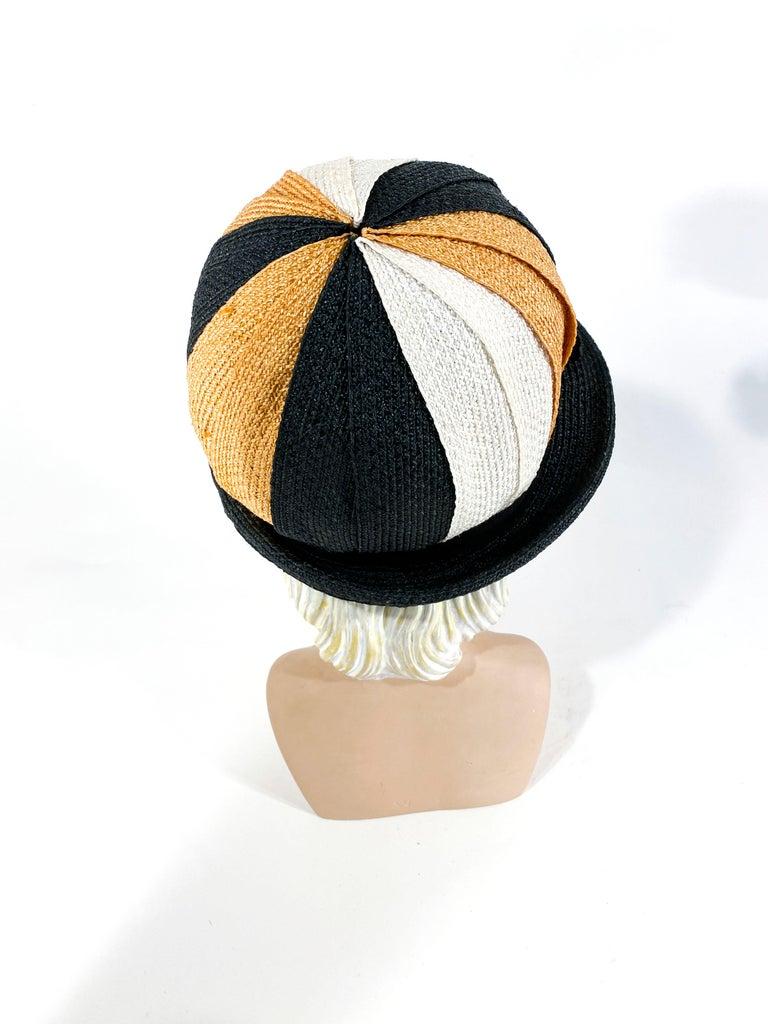 Women's 1960s Black, Gold, and Cream Woven Raffia Cloche For Sale