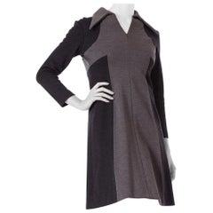 1960S Black & Grey Wool Knit Mod Long Sleeve Dress