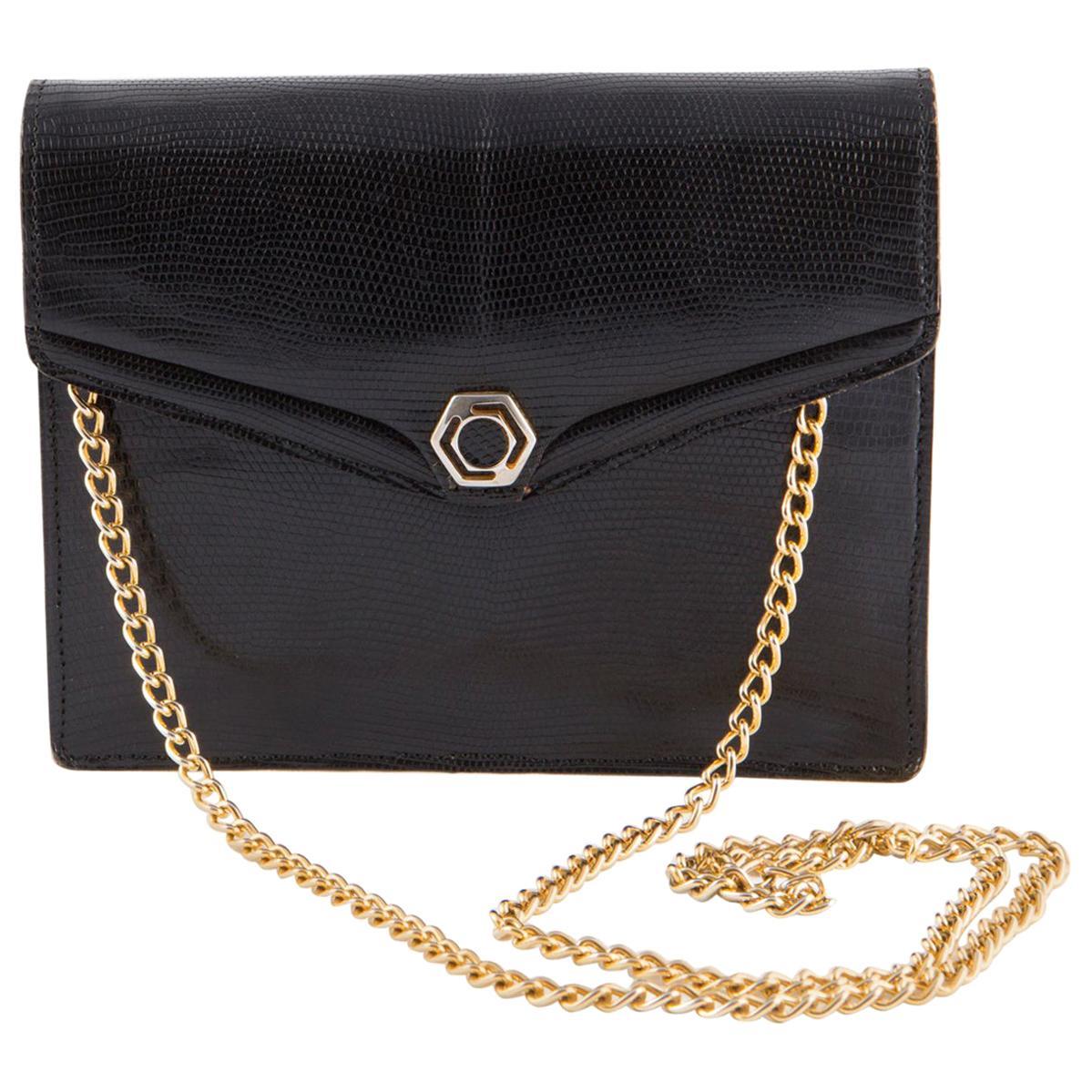 1960s Black Leather Evening Chain Shoulder Bag