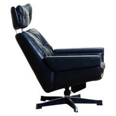 1960s, Black Leather, Rosario, Swivel Rocking Chair by Kurt Hvitsjö for Isku