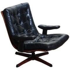 1960s, Black Leather Swivel Chair with Jakaranda Stand by Gote Design Nassjo