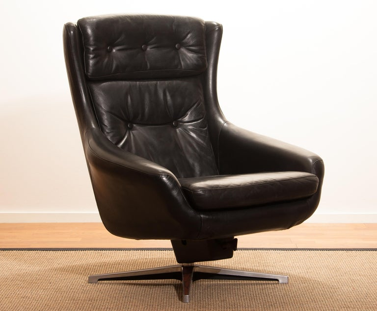 beautiful swivel club chairs | 1960s, Black Leather Swivel Rocking Lounge Chair by ...