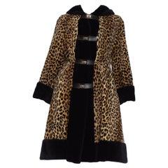 1960S Black & Leopard Rayon Blend Faux Fur Coat with Hood