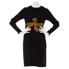 1960S Black & Gold Rayon Blend Long Sleeve Bow Waist Cocktail Dress