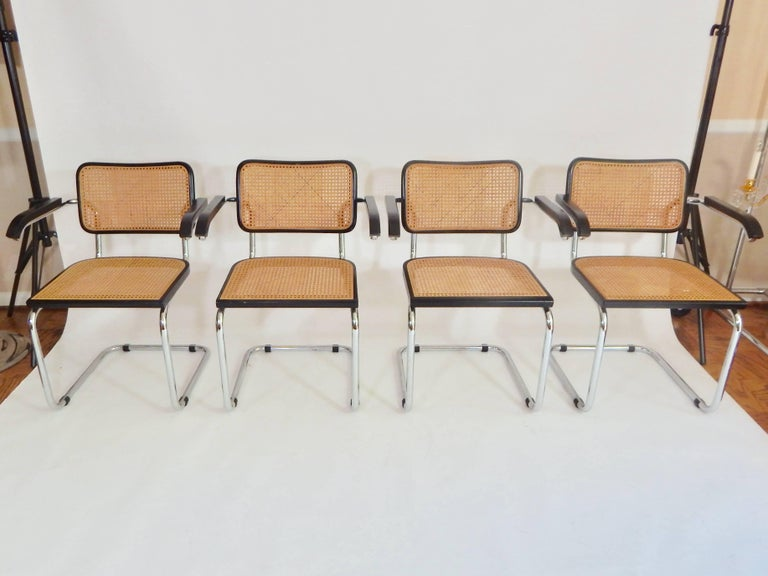 1960s Black Marcel Breuer Cesca Chairs Italy At 1stdibs