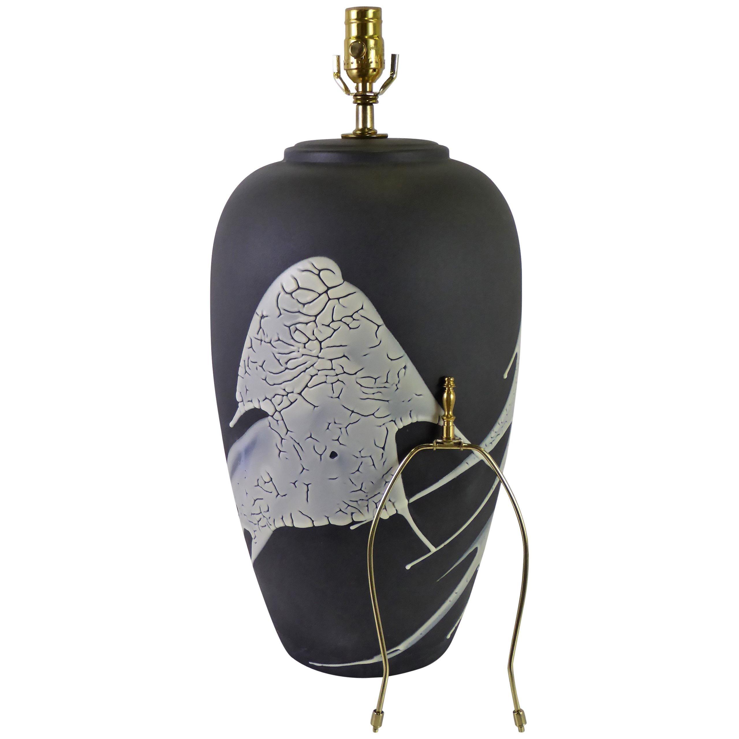 1960s Black n White Lava Glaze Pottery Table Lamp
