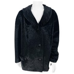 1960s Black Sculpted Velour Jacket